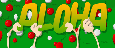 Diverse hands holding letters of the alphabet created the word Aloha (Hello in Hawaii). Vector illustration.