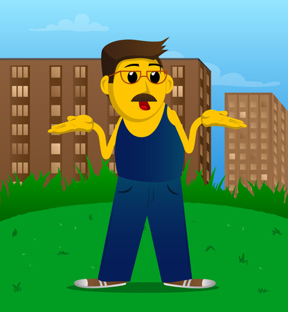 L'homme jaune hausse les épaules exprimant un geste de ne pas savoir Illustration de dessin animé de vecteur.