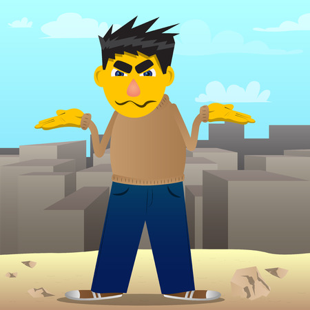 Yellow man shrugs shoulders expressing dont know gesture. Vector cartoon illustration.