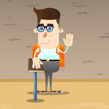 Schoolboy raising his hand and put the other on a holy book. Vector cartoon character illustration. Stock Illustratie