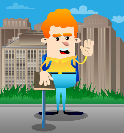 Schoolboy raising his hand and put the other on a holy book. Vector cartoon character illustration. Vectores