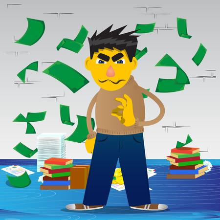 Yellow man showing ok sign. Vector cartoon illustration.