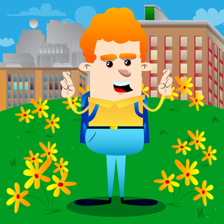 Schoolboy crossing his fingers and wishing for good luck. Vector cartoon character illustration. Illustration