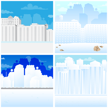 Set of vector illustrated cartoon city scenes in winter.