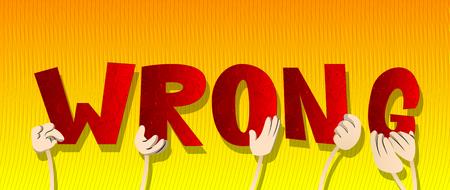 Verschiedene Hände, die Buchstaben des Alphabets halten, haben das Wort Falsch erzeugt. Vektorillustration.