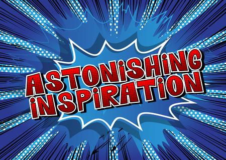 Astonishing Inspiration - Comic book style word on abstract background. Иллюстрация