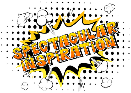 Spectacular Inspiration - Comic book style word on abstract background. Illustration