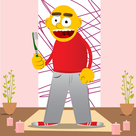 Yellow man holding toothbrush. Vector cartoon illustration.