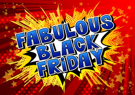 Fabulous Black Friday - Comic book style word on abstract background. Ilustracja