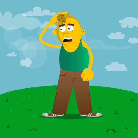 Yellow man confused. Vector cartoon illustration. Çizim