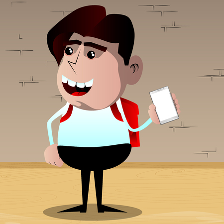 Schoolboy holding smartphone with blank white screen. Vector cartoon character illustration.