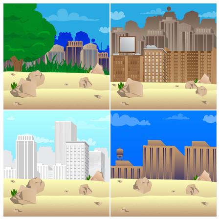 Set of vector illustrated cartoon city scenes.