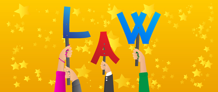 Diverse hands holding letters of the alphabet created the word Law. Vector illustration. Ilustração