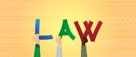 Diverse hands holding letters of the alphabet created the word Law. Vector illustration. 向量圖像