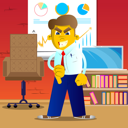 Yellow man showing dislike hand sign. Vector cartoon illustration.