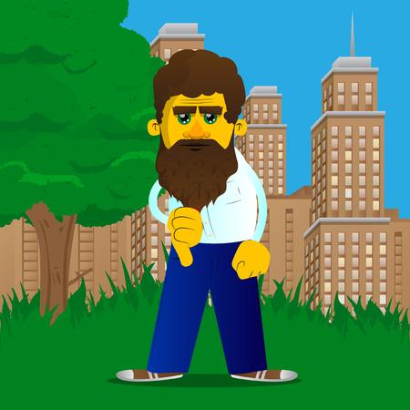 Hombre amarillo que muestra signo de desagrado con la mano. Ilustración de dibujos animados de vector.