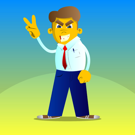 Yellow man showing the V sign. Vector cartoon illustration.