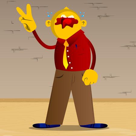 Yellow man showing the V sign. Vector cartoon illustration.