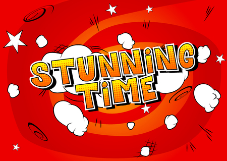 Stunning Time - Comic book style word on abstract background.