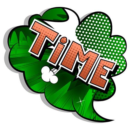 Tiempo - palabra de estilo cómic sobre fondo abstracto.