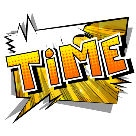 Time - Comic book style word on abstract background. Vettoriali