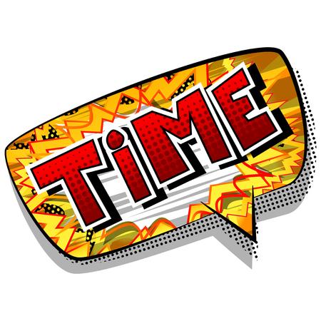 Temps - mot de style bande dessinée sur fond abstrait.