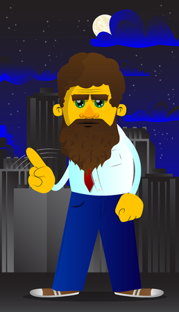 Yellow man saying no with his finger. Vector cartoon illustration.