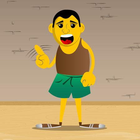 Yellow man saying no with his finger. Vector cartoon illustration.
