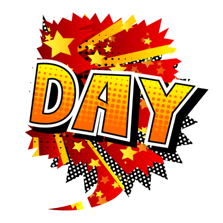 Day - Comic book style word on abstract background.