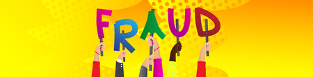 Diverse hands holding letters of the alphabet created the word Fraud. Vector illustration.