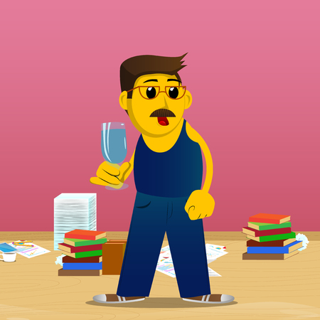 Yellow man holding a glass of champagne. Vector cartoon illustration.  イラスト・ベクター素材