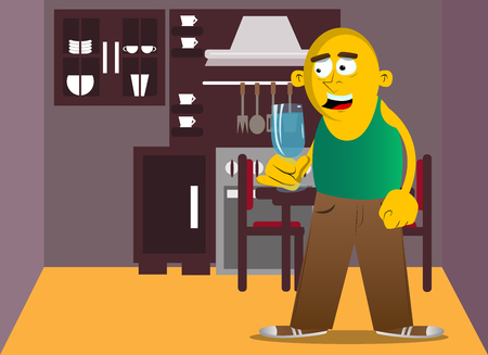 Gelber Mann, der ein Glas Champagner hält. Vektorkarikaturillustration.