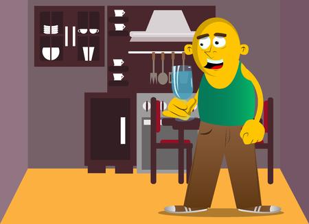 Homme jaune tenant un verre de champagne. Illustration de dessin animé de vecteur.