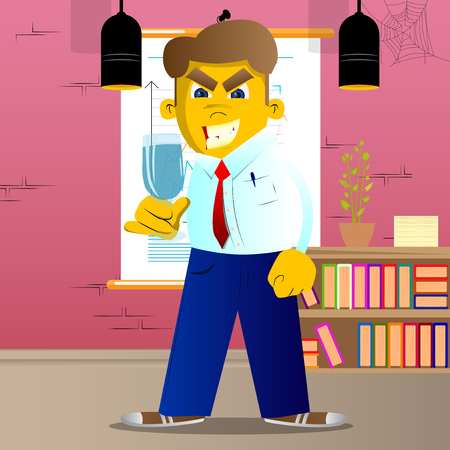 Yellow man holding a glass of champagne. Vector cartoon illustration. Ilustrace