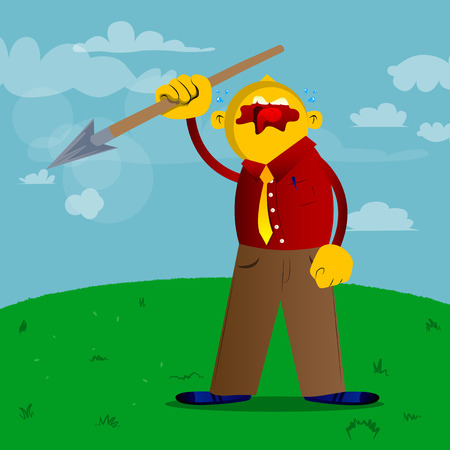 Yellow man holding spear in his hand. Vector cartoon illustration. Ilustrace