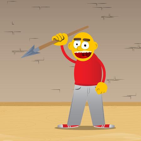 Yellow man holding spear in his hand. Vector cartoon illustration. 向量圖像