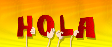Diverse hands holding letters of the alphabet created the word Hola (hello in spanish). Vector illustration. Foto de archivo - 107683103