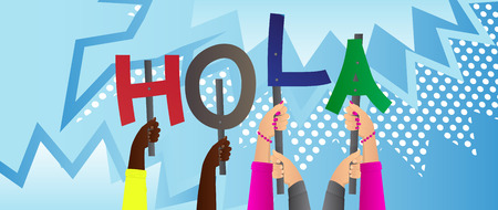 Diverse hands holding letters of the alphabet created the word Hola (hello in spanish). Vector illustration. Foto de archivo - 107683105