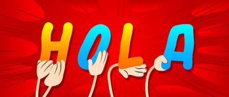 Diverse hands holding letters of the alphabet created the word Hola (hello in spanish). Vector illustration.