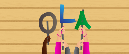 Diverse hands holding letters of the alphabet created the word Ola (hello in portuguese). Vector illustration.