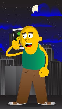Yellow man talking on cell phone. Vector cartoon illustration.