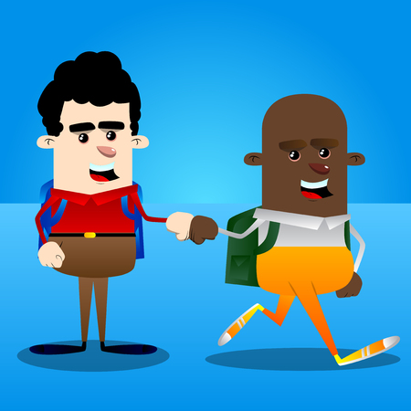 Schoolboys giving a fist bump. Vector cartoon character illustration.