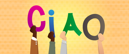 Diverse hands holding letters of the alphabet created the word Ciao (hello and bye in Italian). Vector illustration.