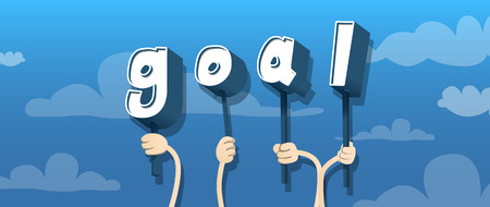 Diverse hands holding letters of the alphabet created the word Goal. Vector illustration.