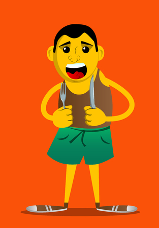 Yellow man holding up a knife and fork. Vector cartoon illustration.