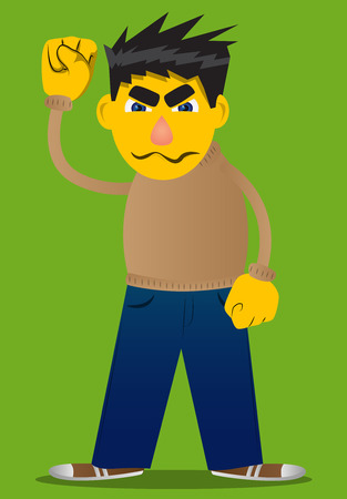 Yellow man making power to the people fist gesture. Vector cartoon illustration. Illustration