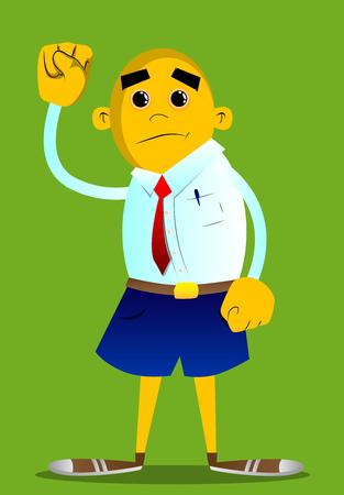 Yellow man making power to the people fist gesture. Vector cartoon illustration. Çizim