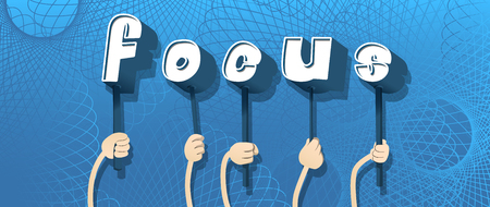 Diverse hands holding letters of the alphabet created the word Focus. Vector illustration. Banque d'images - 108044806