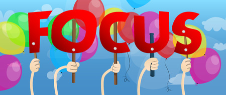 Diverse hands holding letters of the alphabet created the word Focus. Vector illustration. Stockfoto - 108044811