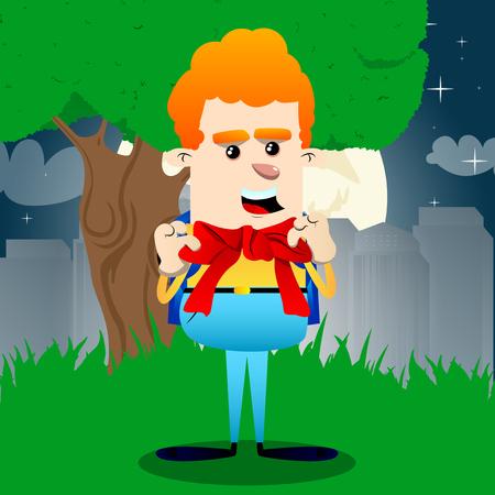 Schoolboy with big red tie. Vector cartoon character illustration. 일러스트